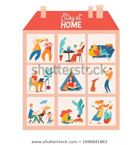Különböző szobák ház illusztráció otthon háttér Stock fotó © bluering