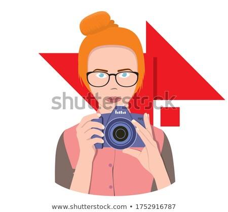 фотография счастливым брюнетка женщину красный блузка Сток-фото © deandrobot