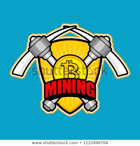 Mining Bitcoin emblem. Pick Cryptocurrency sign. Extraction of C Stock photo © popaukropa