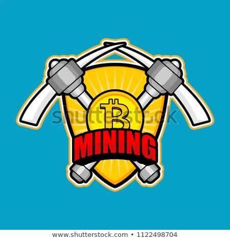 bitcoin · wydobycie · kółko · ikona · stylu · długo - zdjęcia stock © popaukropa