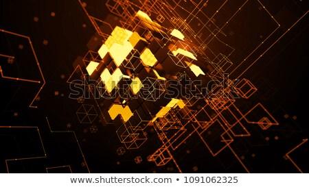 3D kubus deeltje textuur abstract technologie Stockfoto © SArts