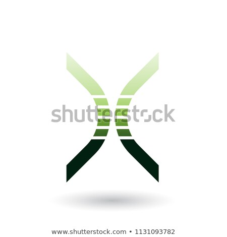 green bow shaped striped icon for letter x vector illustration stock photo © cidepix