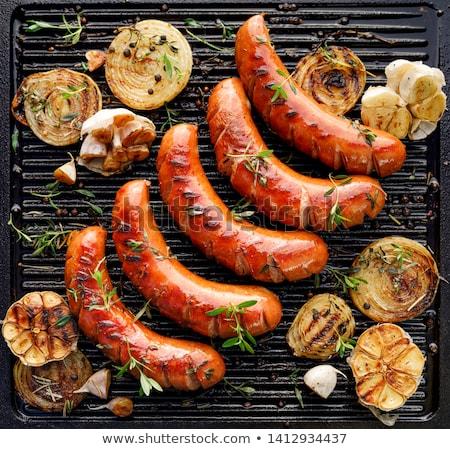 гриль колбаса иллюстрация томатном соусе пластина продовольствие Сток-фото © olegtoka