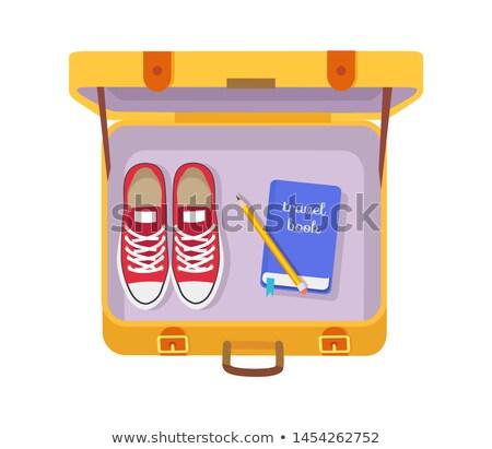 Tok utazás könyv ceruza piros sportcipők Stock fotó © robuart