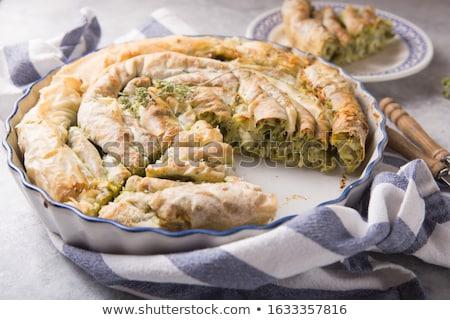 Sliced Homemade Greek Spanakopita Stock photo © mpessaris