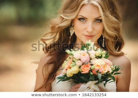 belo · jovem · noiva · posando · branco · luxo - foto stock © acidgrey