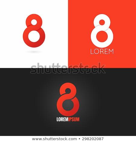 Número oito ícone vetor vermelho símbolo Foto stock © blaskorizov