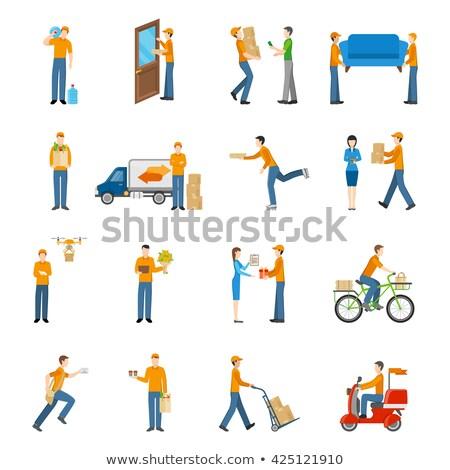 flat type Delivery men_icon Stock photo © toyotoyo