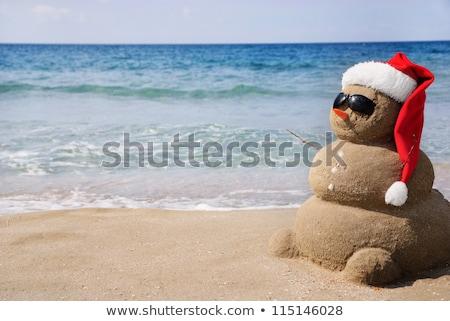 Homokos karácsony hóember piros mikulás kalap Stock fotó © galitskaya