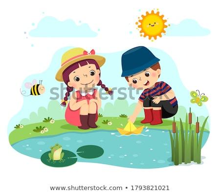 Rana estanque ilustración hierba peces lago Foto stock © colematt