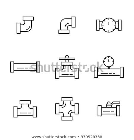 Icône pipe vanne léger ligne design Photo stock © angelp