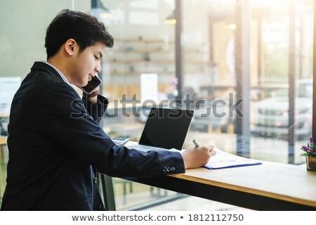 Főnök iroda specialista beszél mobiltelefon partnerek Stock fotó © robuart