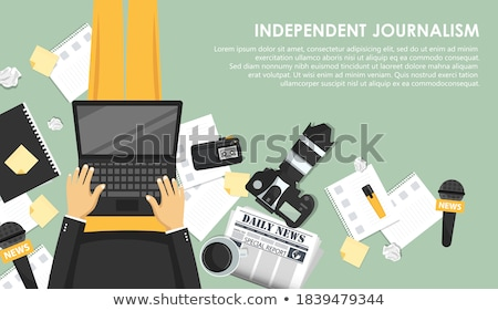 Independent journalism flat banner. Equipment for journalist. Man sitting on the floor and holding l Stock photo © makyzz