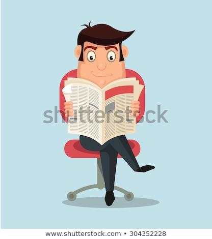 Empresário leitura jornal negócio escritório homem Foto stock © makyzz