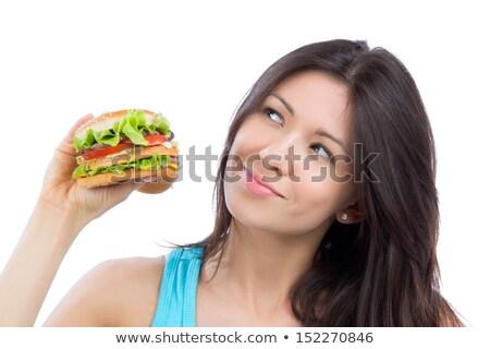 Sobrepeso mujer hamburguesa mano vista Foto stock © AndreyPopov