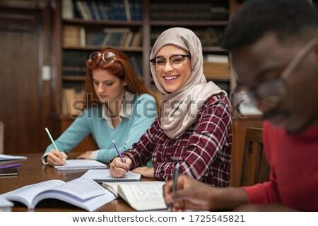 Női diák hidzsáb vizsgák nő ház Stock fotó © Elnur