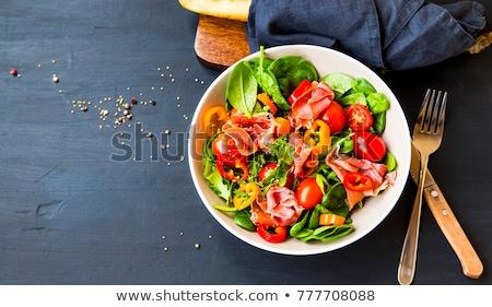 здорового · Салат · прошутто · томатный · зеленые · листья · продовольствие - Сток-фото © furmanphoto