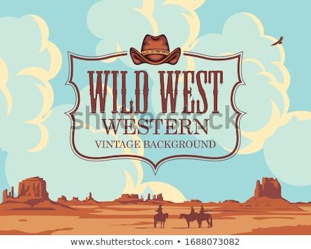 Vintage wild west ingesteld cowboy communie Stockfoto © netkov1