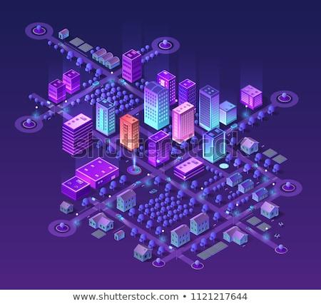 Futuristische moderne stad wolkenkrabber stadsgezicht groot Stockfoto © robuart
