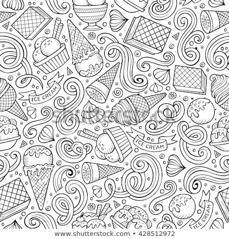 Stock photo: Cartoon hand-drawn ice cream doodles seamless pattern