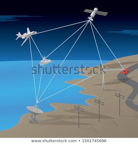 Satellite GPS réseau communication scène avion Photo stock © jeff_hobrath