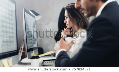 At symbol with business person on laptop. Stock photo © lichtmeister