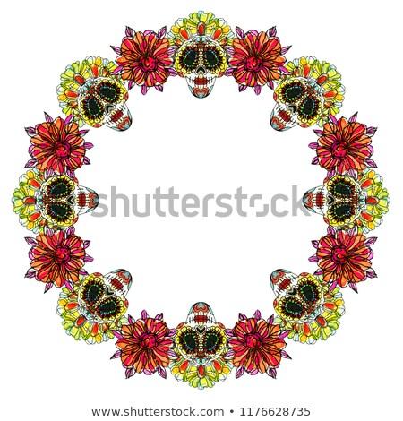 Dag dode banner kleurrijk aquarel schedel Stockfoto © cienpies
