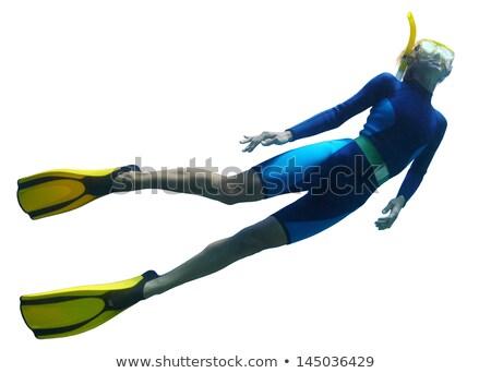 Dziewczyna rurka do nurkowania odizolowany ilustracja uśmiech szczęśliwy Zdjęcia stock © bluering