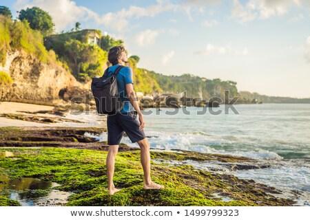 Moço turista praia bali ilha Indonésia Foto stock © galitskaya