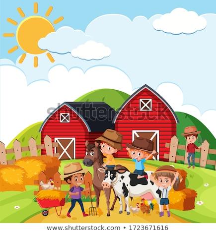 Farm scene with many animals on the farm Stock photo © bluering