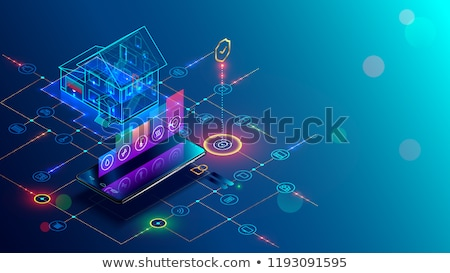 Smart Home Building Controlled by Smartphone 3D Stock photo © robuart