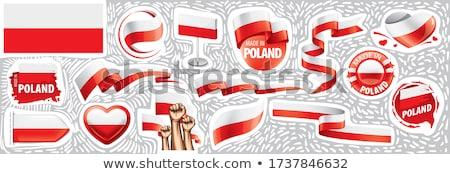 Polônia bandeira mão branco mundo liberdade Foto stock © butenkow