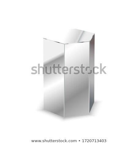 Metal 3D pryzmat biały odizolowany Zdjęcia stock © evgeny89