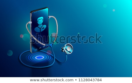 Isometric illustration of smartphone, doctor talking at phone, holding first aid case, web medical i Stock photo © robuart