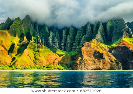 Na Pali coast, Kauai, Hawaii view from sea sunset cruise tour. N Stock photo © Maridav