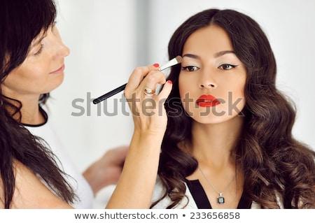 Make-up vrouw werken focus ogen pen Stockfoto © cynoclub