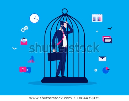 overworked businessman prisoner of his work stock photo © carbouval
