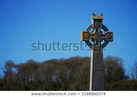 celtic cross blue sky graveyard Stock photo © kikkerdirk