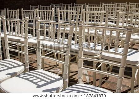 beyaz · sandalye · çim · düğün · töreni · yaz - stok fotoğraf © backyardproductions