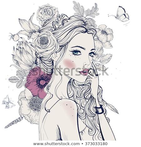 jovem · bela · mulher · retrato · flor · cara - foto stock © juniart