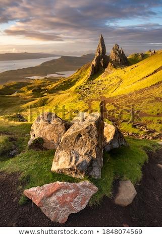 Renkli kaya oluşumu manzara İskoçya çim seyahat Stok fotoğraf © prill