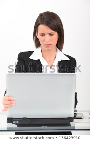 Brunette having technical issues with computer Stock photo © photography33