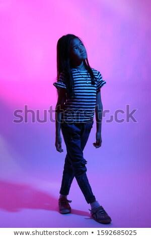 mooie · futuristische · kid · meisje · kind · grijs · haar - stockfoto © lunamarina