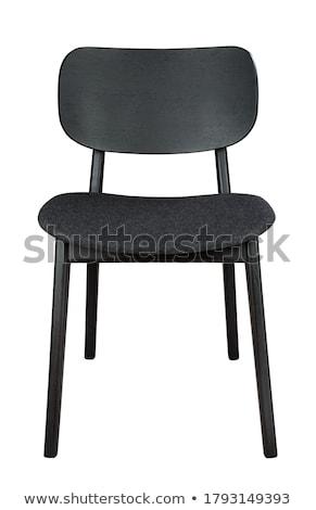 negro · silla · aislado · blanco · fondo · muebles - foto stock © ozaiachin