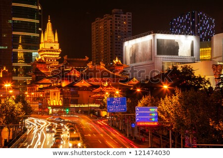 Tempel park straat gebouwen Sjanghai China Stockfoto © billperry