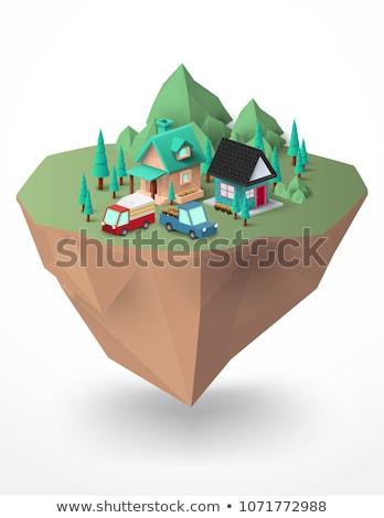 Stockfoto: Landelijk · huizen · groene · berg · boom · wolken