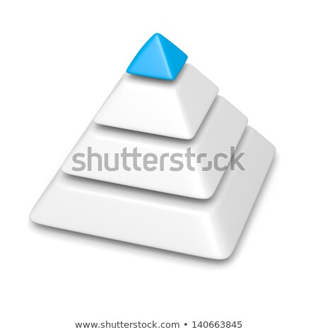 Stock photo: pyramid 4 levels stack completed with blue top piece