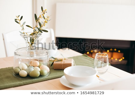 Blue easter eggs on a paper background. Rustic style. Stock photo © dariazu