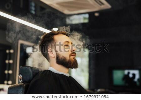 ストックフォト: ファッション · 男 · 長い · あごひげ · 座って · 喫煙