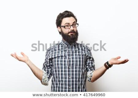 ストックフォト: あごひげを生やした · 男 · 手 · 眼鏡 · 小さな · 座って